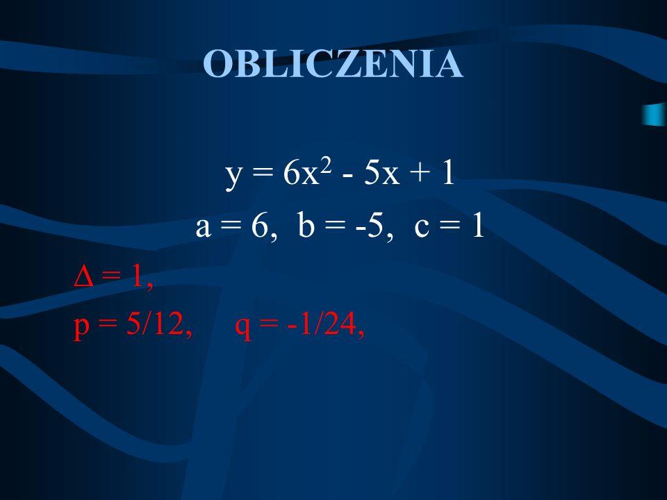 OBLICZENIA y = 6x 2 - 5x + 1 a = 6, b = -5, c = 1 = 1, p = 5/12, q = -1/24,