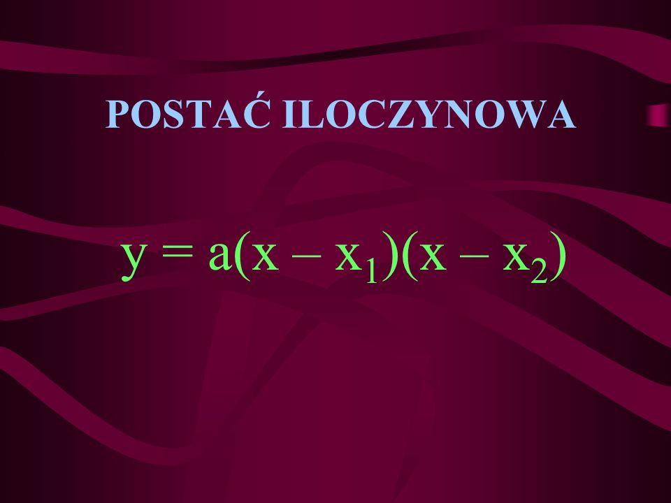 POSTAĆ ILOCZYNOWA y = a(x – x 1 )(x – x2)x2)