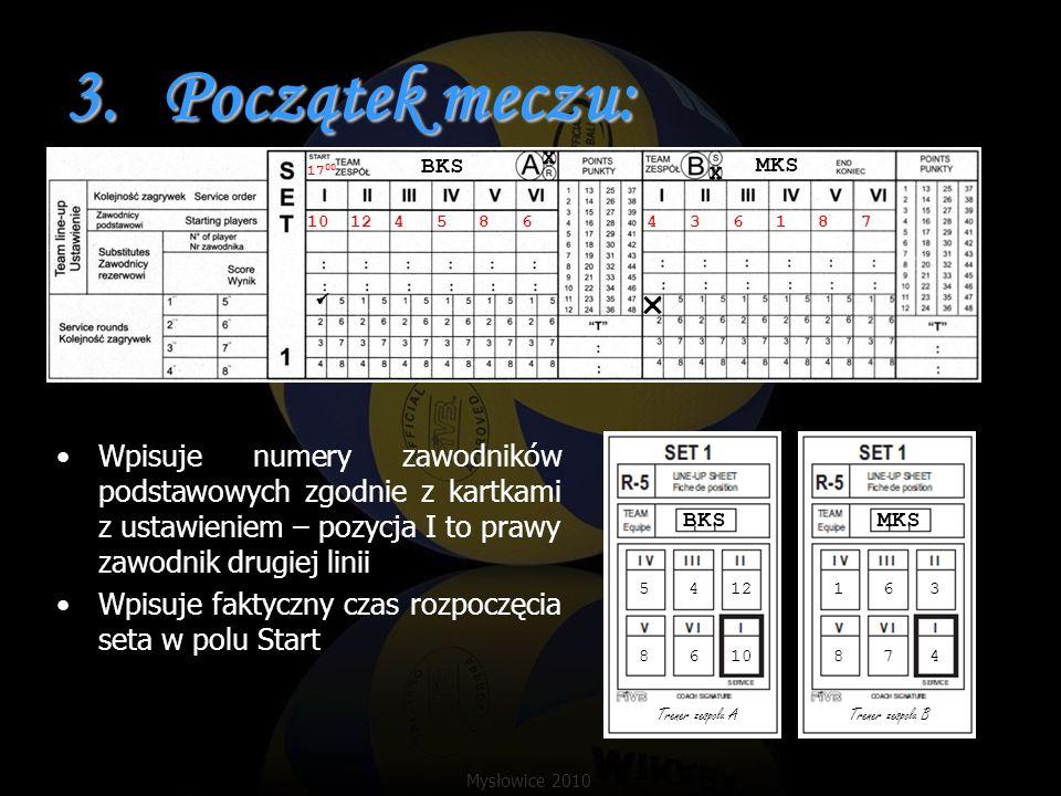 3.Początek meczu: Wpisuje numery zawodników podstawowych zgodnie z kartkami z ustawieniem – pozycja I to prawy zawodnik drugiej linii Wpisuje faktyczn