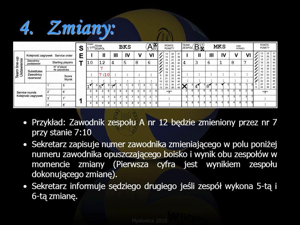 4.Zmiany: Przykład: Zawodnik zespołu A nr 12 będzie zmieniony przez nr 7 przy stanie 7:10 Sekretarz zapisuje numer zawodnika zmieniającego w polu poni