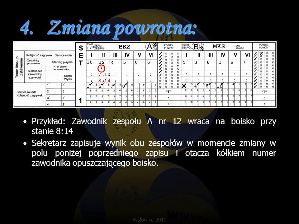 4.Zmiana powrotna: Przykład: Zawodnik zespołu A nr 12 wraca na boisko przy stanie 8:14 Sekretarz zapisuje wynik obu zespołów w momencie zmiany w polu