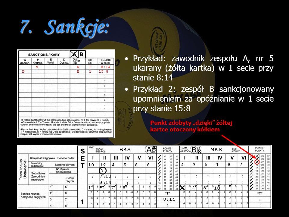 7.Sankcje: Przykład: zawodnik zespołu A, nr 5 ukarany (żółta kartka) w 1 secie przy stanie 8:14 Przykład 2: zespół B sankcjonowany upomnieniem za opóź