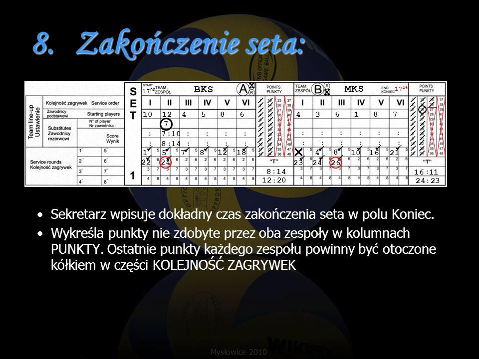 8.Zakończenie seta: Sekretarz wpisuje dokładny czas zakończenia seta w polu Koniec. Wykreśla punkty nie zdobyte przez oba zespoły w kolumnach PUNKTY.