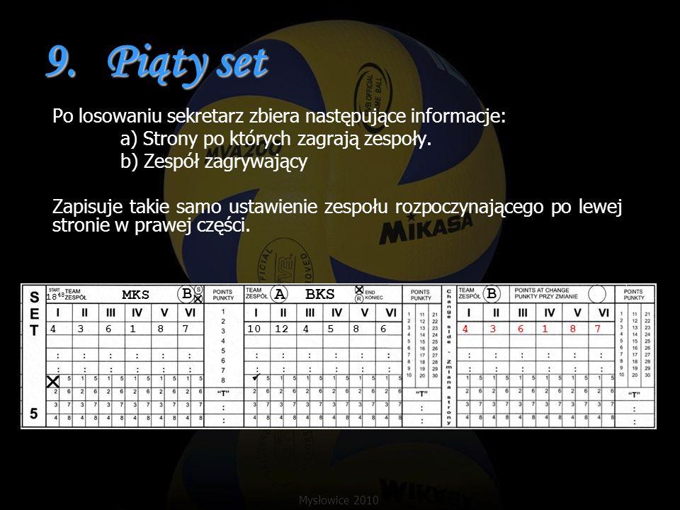 9.Piąty set Po losowaniu sekretarz zbiera następujące informacje: a) Strony po których zagrają zespoły. b) Zespół zagrywający Zapisuje takie samo usta