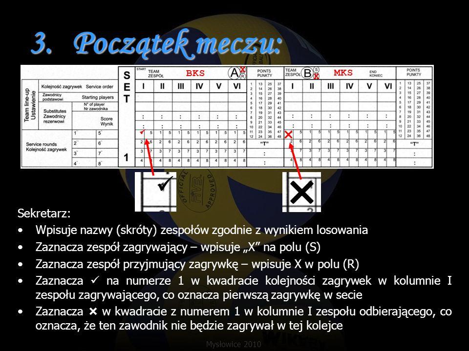 3.Początek meczu: Sekretarz: Wpisuje nazwy (skróty) zespołów zgodnie z wynikiem losowania Zaznacza zespół zagrywający – wpisuje X na polu (S) Zaznacza