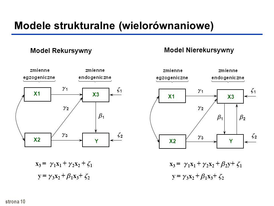 strona 9 Model równań strukturalnych (SEM) zModel równań strukturalnych (structural equation model, SEM) przezwycięża ograniczenia regresji zSEM jest