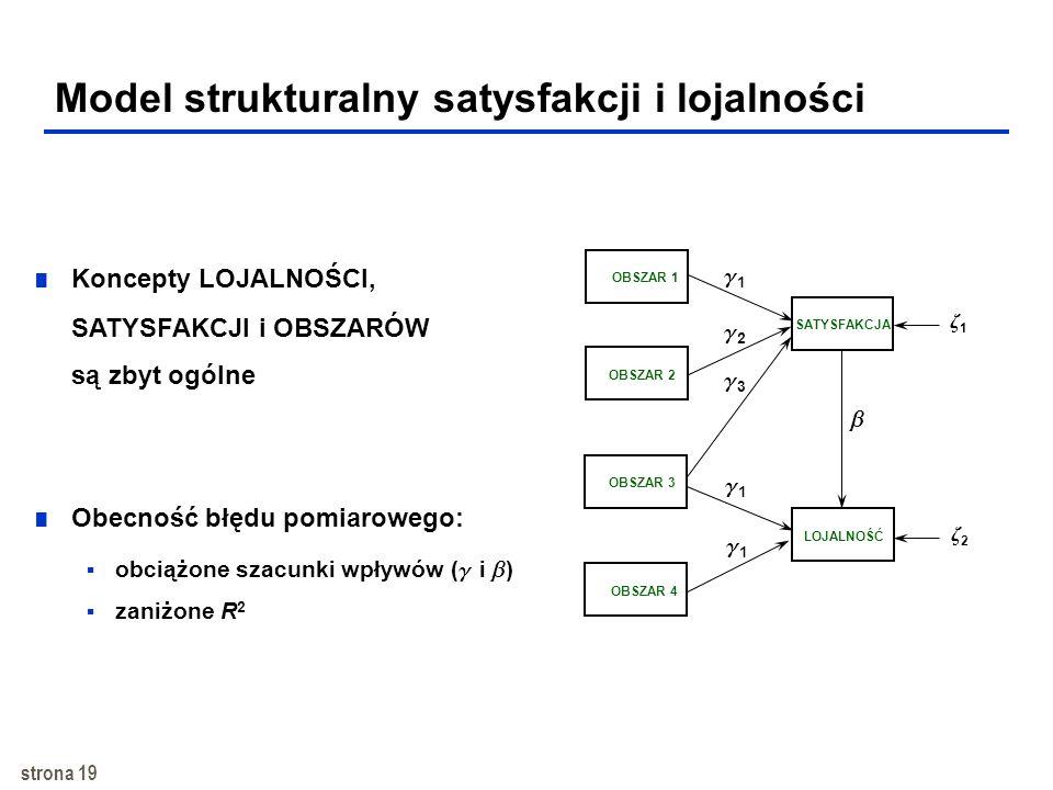 strona 18 Model strukturalny satysfakcji i lojalności SATYSFAKCJA LOJALNOŚĆ OBSZAR Wpływy OBSZARU i SATYSFAKCJI na LJALNOŚĆ: bezpośredni pośredni ogól