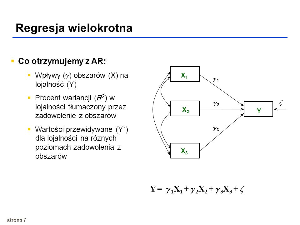 strona 7 Regresja wielokrotna X2X2 Y X1X1 Y = 1 X 1 + 2 X 2 + 3 X 3 + X3X3 Co otrzymujemy z AR: Wpływy ( ) obszarów (X) na lojalność (Y) Procent wariancji (R 2 ) w lojalności tłumaczony przez zadowolenie z obszarów Wartości przewidywane (Y`) dla lojalności na różnych poziomach zadowolenia z obszarów 1 2 3