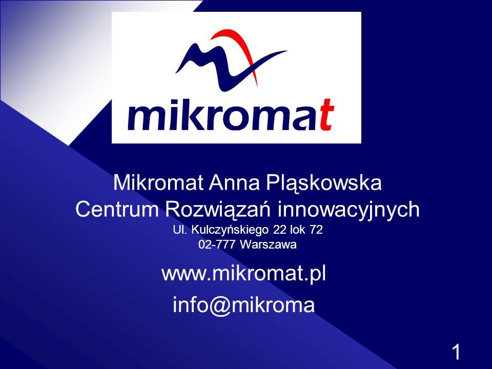 1 Mikromat Anna Pląskowska Centrum Rozwiązań innowacyjnych Ul. Kulczyńskiego 22 lok 72 02-777 Warszawa www.mikromat.pl info@mikroma