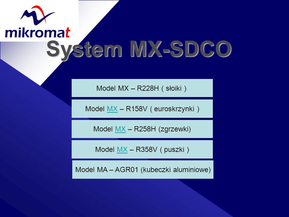 System MX-SDCO Model MX – R228H ( słoiki ) Model MX – R158V ( euroskrzynki ) Model MX – R258H (zgrzewki) Model MX – R358V ( puszki ) Model MA – AGR01