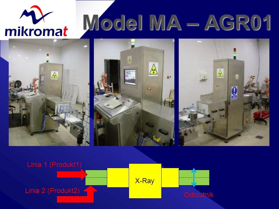 Model MA – AGR01 X-Ray Linia 1 (Produkt1) Linia 2 (Produkt2) Odrzutnik