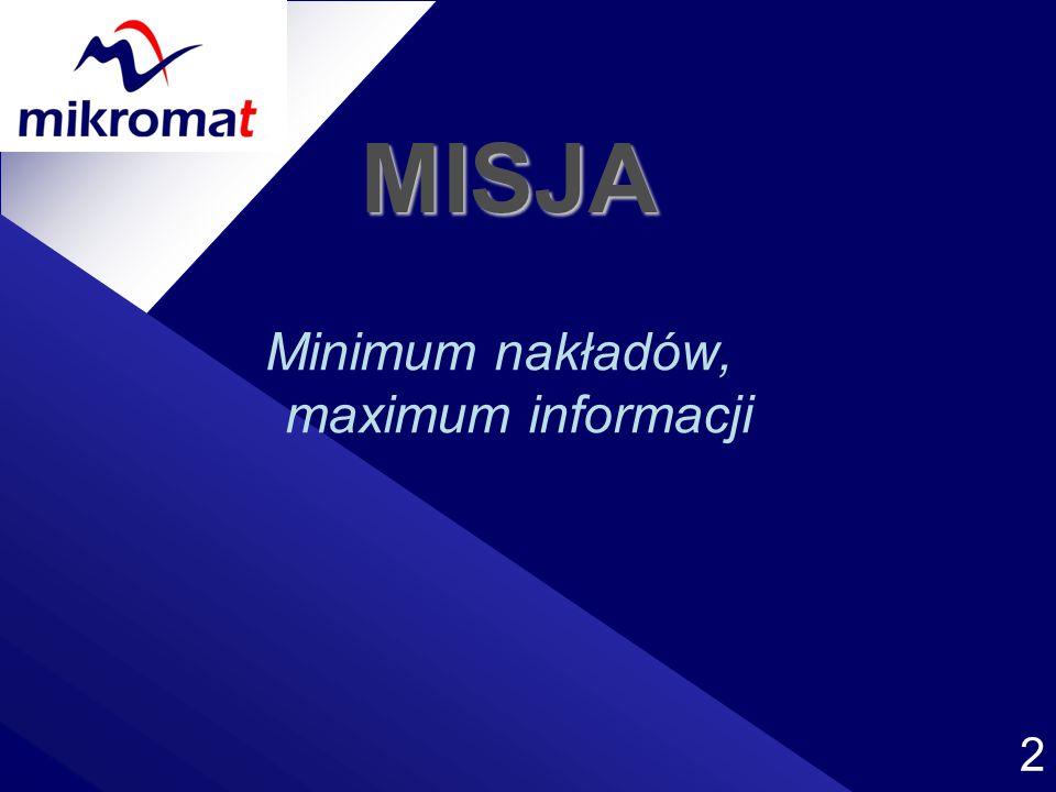 2 MISJA Minimum nakładów, maximum informacji