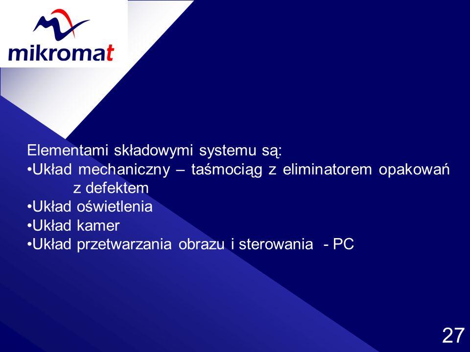 27 Elementami składowymi systemu są: Układ mechaniczny – taśmociąg z eliminatorem opakowań z defektem Układ oświetlenia Układ kamer Układ przetwarzani