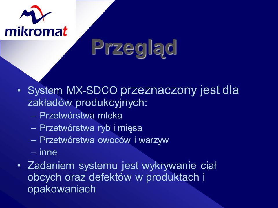 Przegląd System MX-SDCO przeznaczony jest dla zakładów produkcyjnych: –Przetwórstwa mleka –Przetwórstwa ryb i mięsa –Przetwórstwa owoców i warzyw –inn