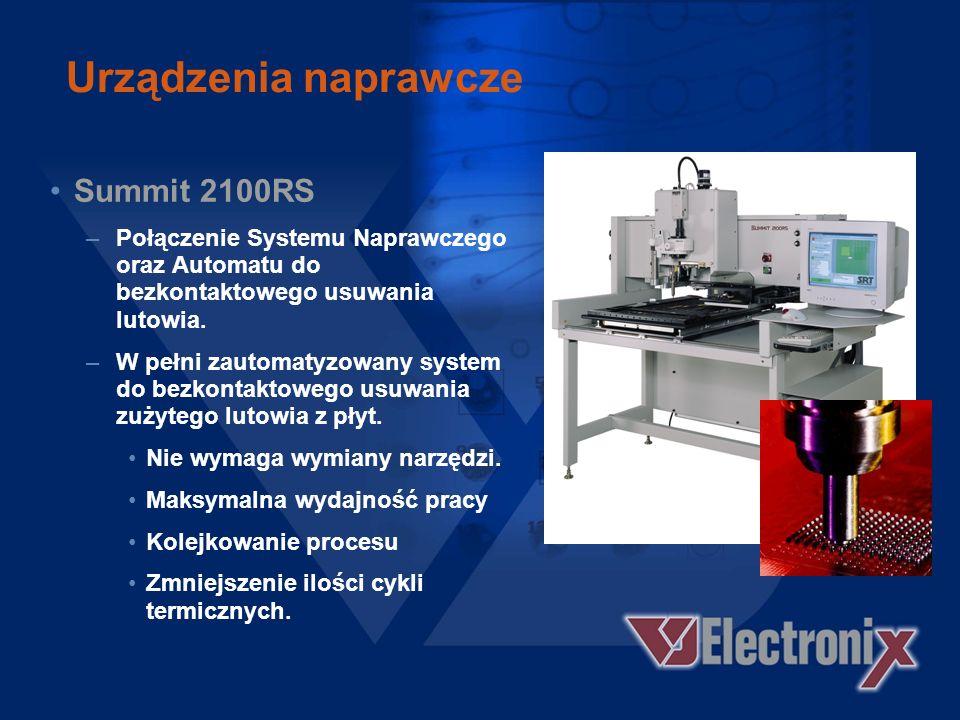 Urządzenia naprawcze Summit 1100LX –Max. Wielkość płyty 610 x 915 mm –Pole widzenia: 80 mm –Dokładność pozycjonowania i kontrola termiczna jak w stand