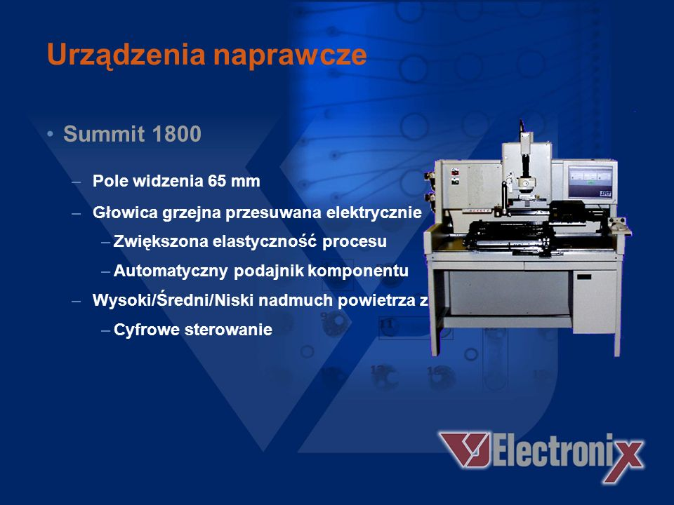 Urządzenia naprawcze Summit 2100S –Niezależny system bezkontaktowego usuwania lutowia.