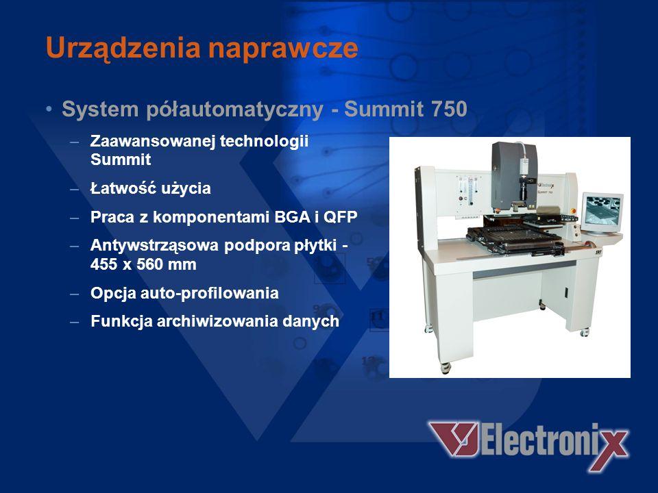 Urządzenia naprawcze System półautomatyczny - Summit 750 –Zaawansowanej technologii Summit –Łatwość użycia –Praca z komponentami BGA i QFP –Antywstrząsowa podpora płytki - 455 x 560 mm –Opcja auto-profilowania –Funkcja archiwizowania danych