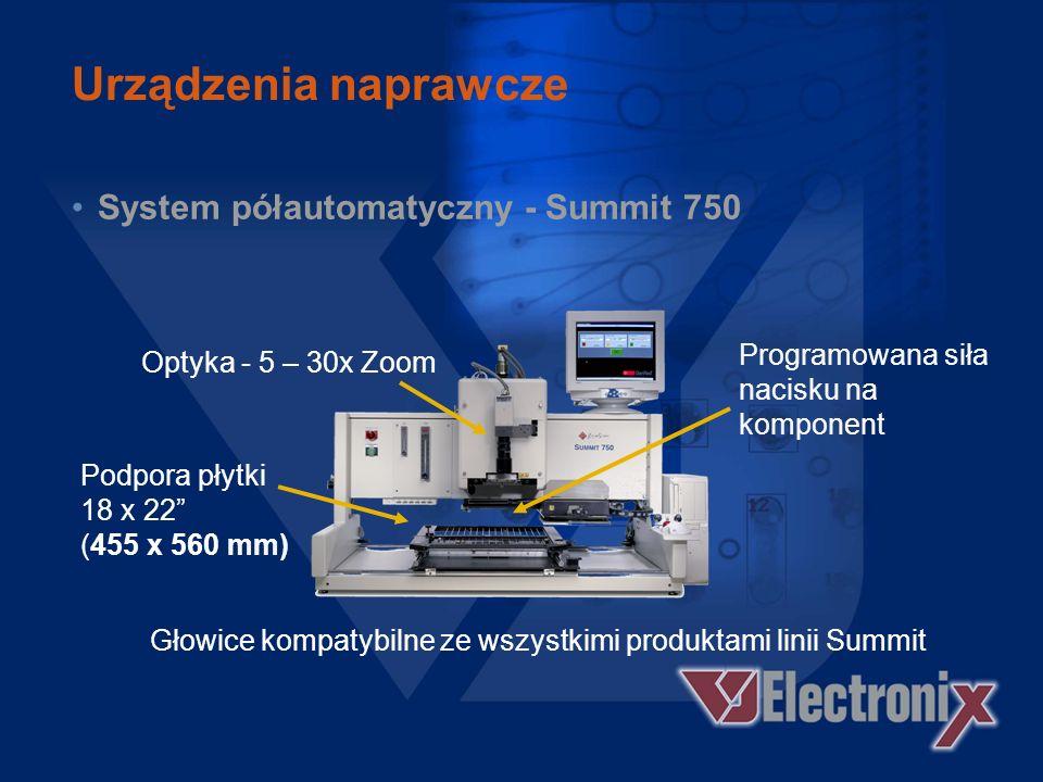Urządzenia naprawcze System półautomatyczny - Summit 750 –Zaawansowanej technologii Summit –Łatwość użycia –Praca z komponentami BGA i QFP –Antywstrzą