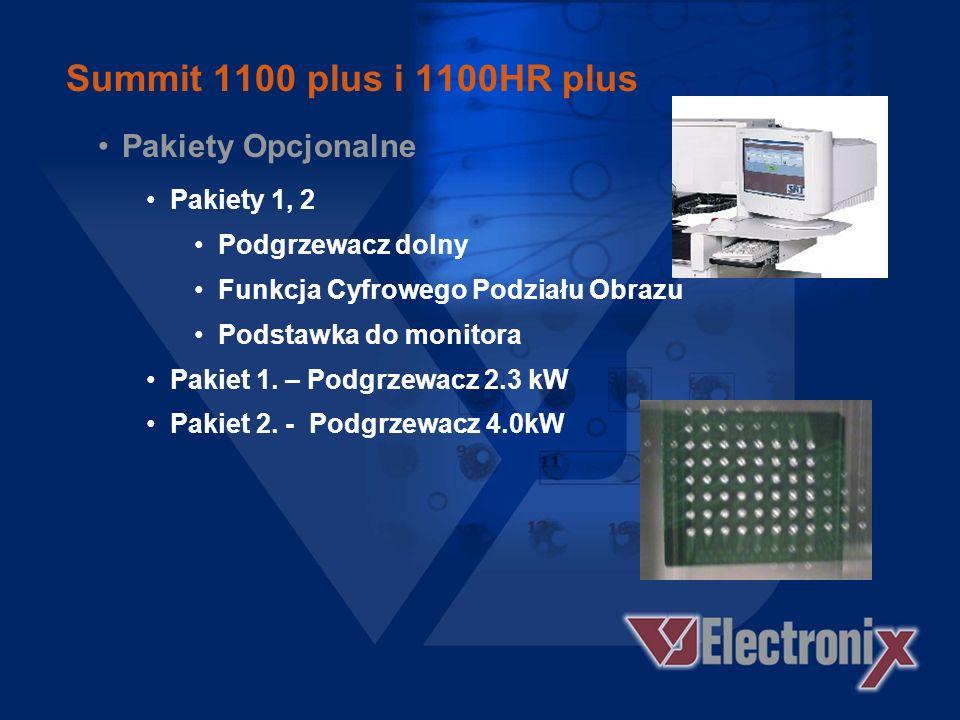 Summit 1100 plus i 1100HR plus W modelach HR dodatkowo: Stolik mikrometryczny X/Y Mocny / Słaby Nadmuch Chwytak podciśnieniowy o średnicy 0,5 mm 1.0 x sprzężenie optyczne