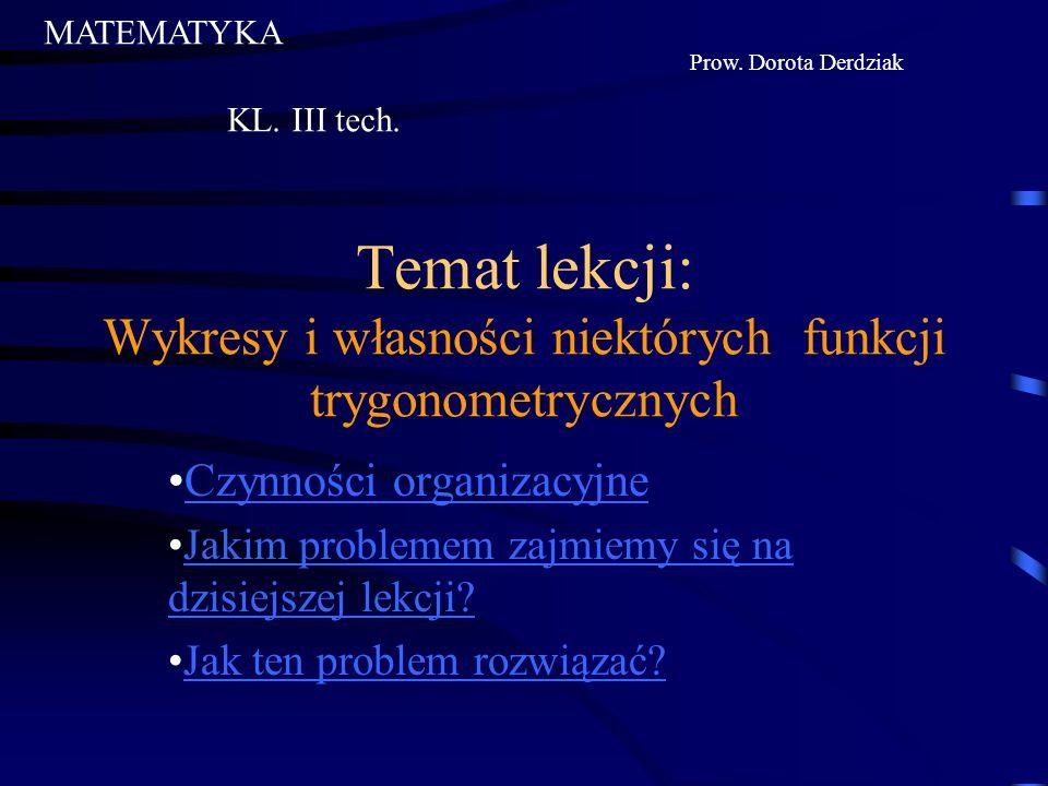 Temat lekcji: Wykresy i własności niektórych funkcji trygonometrycznych Czynności organizacyjne Jakim problemem zajmiemy się na dzisiejszej lekcji?Jakim problemem zajmiemy się na dzisiejszej lekcji.