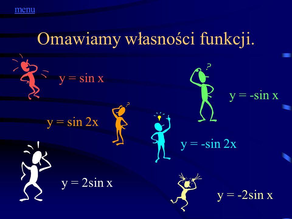 Omawiamy własności funkcji. y = sin x y = -sin x y = sin 2x y = -sin 2x y = 2sin x y = -2sin x menu