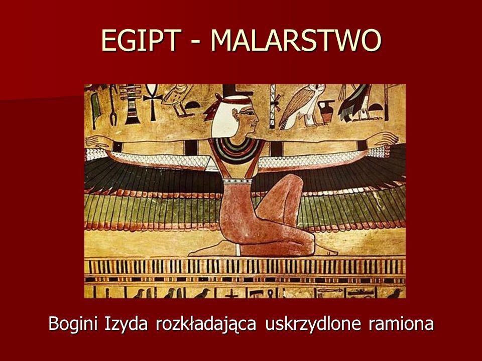 EGIPT - MALARSTWO Bogini Izyda rozkładająca uskrzydlone ramiona