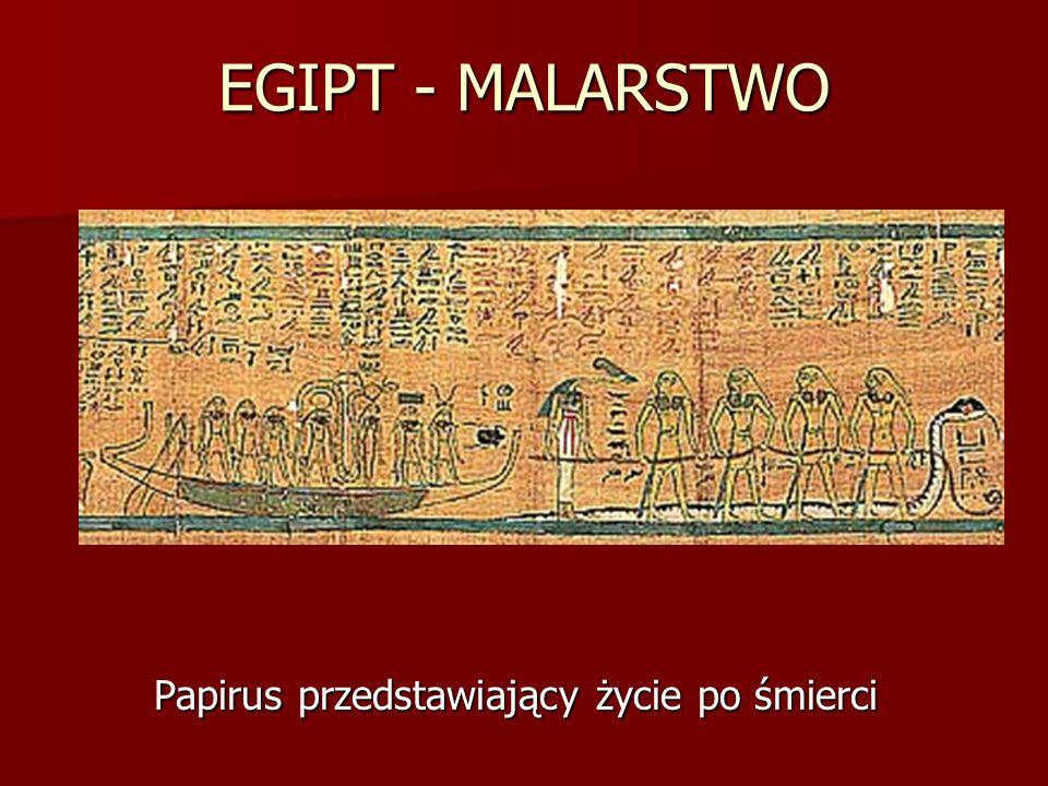EGIPT - MALARSTWO Papirus przedstawiający życie po śmierci