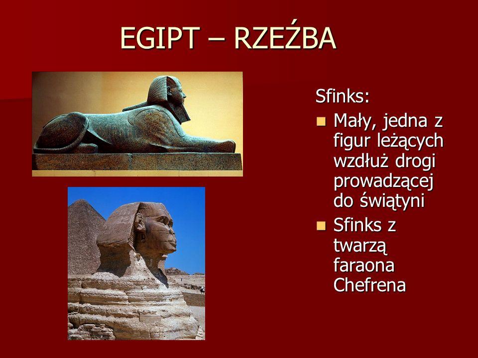 EGIPT – RZEŹBA Sfinks: Mały, jedna z figur leżących wzdłuż drogi prowadzącej do świątyni Mały, jedna z figur leżących wzdłuż drogi prowadzącej do świą