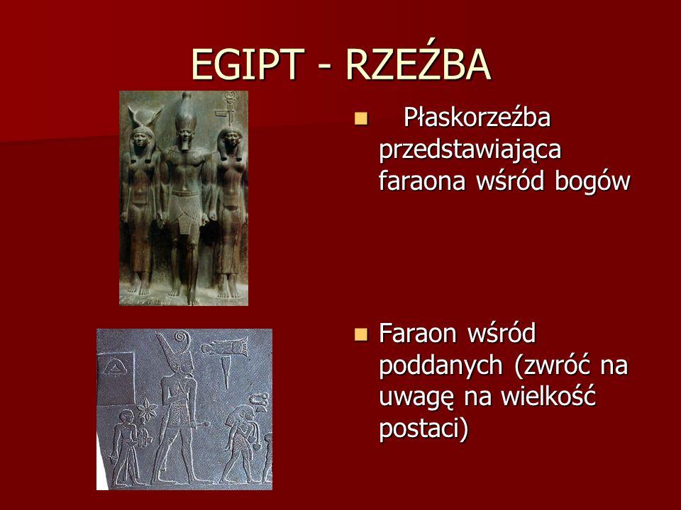 EGIPT - RZEŹBA Płaskorzeźba przedstawiająca faraona wśród bogów Płaskorzeźba przedstawiająca faraona wśród bogów Faraon wśród poddanych (zwróć na uwag