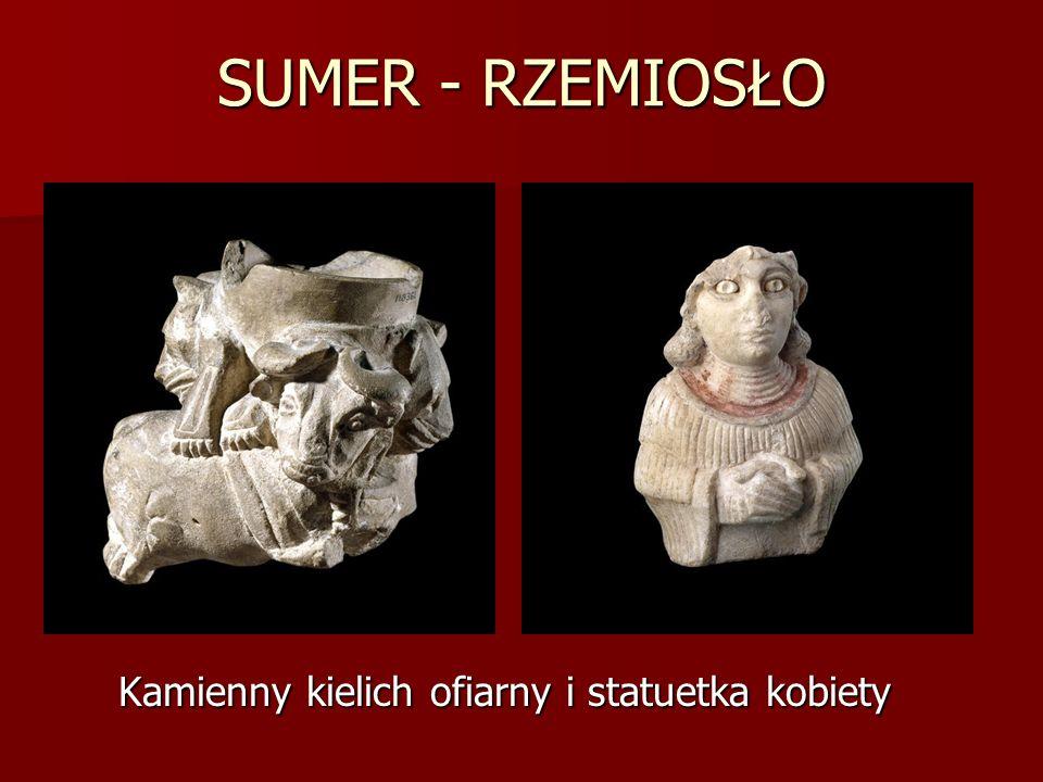 SUMER - RZEMIOSŁO Kamienny kielich ofiarny i statuetka kobiety