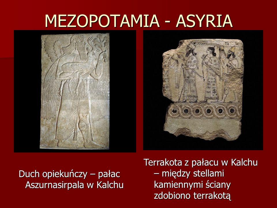 MEZOPOTAMIA - ASYRIA Duch opiekuńczy – pałac Aszurnasirpala w Kalchu Terrakota z pałacu w Kalchu – między stellami kamiennymi ściany zdobiono terrakot
