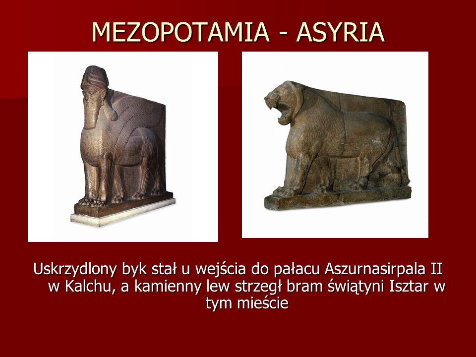 MEZOPOTAMIA - ASYRIA Uskrzydlony byk stał u wejścia do pałacu Aszurnasirpala II w Kalchu, a kamienny lew strzegł bram świątyni Isztar w tym mieście