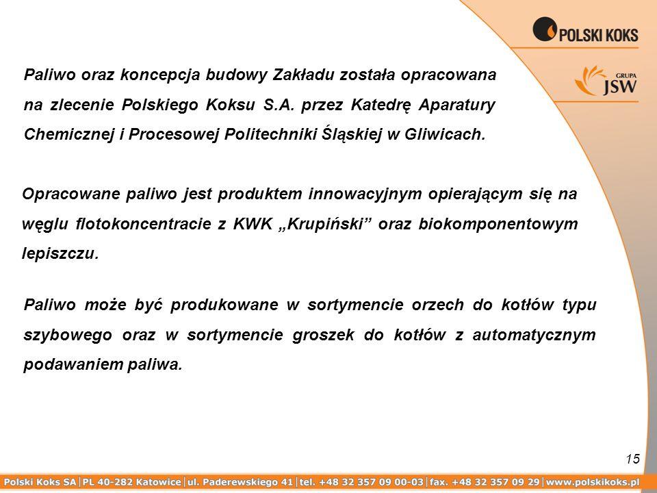15 Paliwo oraz koncepcja budowy Zakładu została opracowana na zlecenie Polskiego Koksu S.A. przez Katedrę Aparatury Chemicznej i Procesowej Politechni