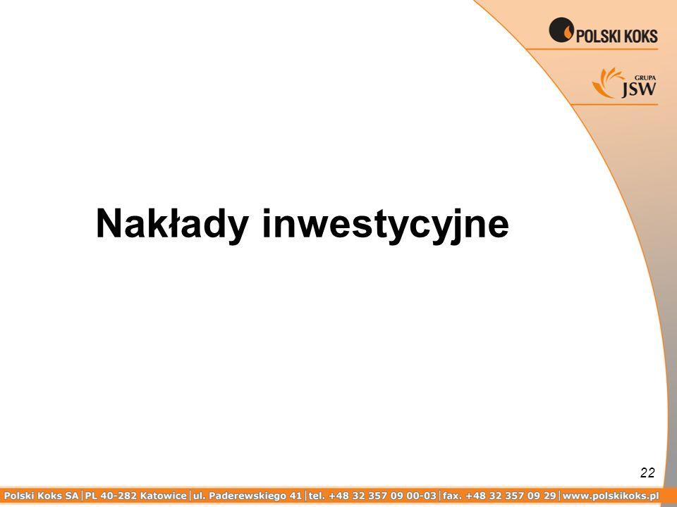 22 Nakłady inwestycyjne