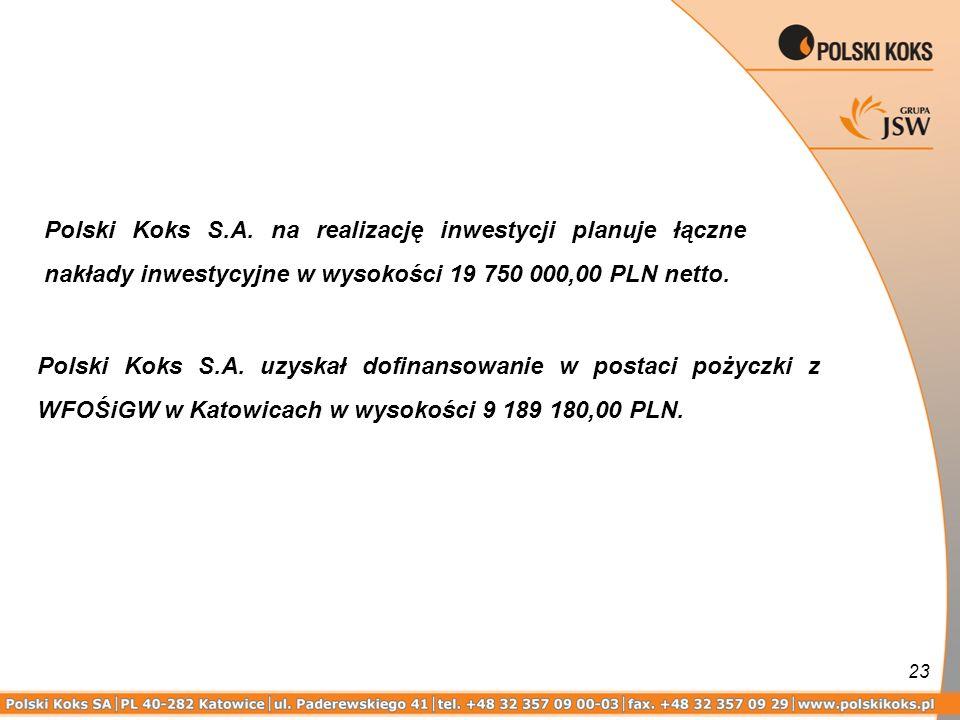 23 Polski Koks S.A. uzyskał dofinansowanie w postaci pożyczki z WFOŚiGW w Katowicach w wysokości 9 189 180,00 PLN. Polski Koks S.A. na realizację inwe