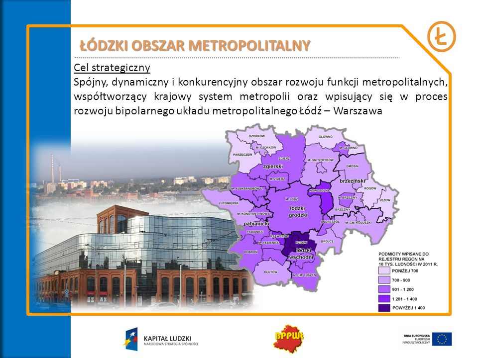 ŁÓDZKI OBSZAR METROPOLITALNY Cel strategiczny Spójny, dynamiczny i konkurencyjny obszar rozwoju funkcji metropolitalnych, współtworzący krajowy system metropolii oraz wpisujący się w proces rozwoju bipolarnego układu metropolitalnego Łódź – Warszawa