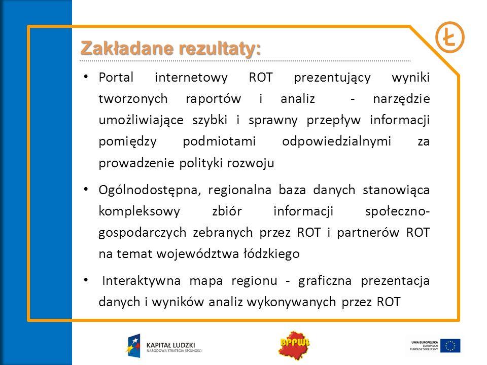 Zakładane rezultaty: Portal internetowy ROT prezentujący wyniki tworzonych raportów i analiz - narzędzie umożliwiające szybki i sprawny przepływ informacji pomiędzy podmiotami odpowiedzialnymi za prowadzenie polityki rozwoju Ogólnodostępna, regionalna baza danych stanowiąca kompleksowy zbiór informacji społeczno- gospodarczych zebranych przez ROT i partnerów ROT na temat województwa łódzkiego Interaktywna mapa regionu - graficzna prezentacja danych i wyników analiz wykonywanych przez ROT