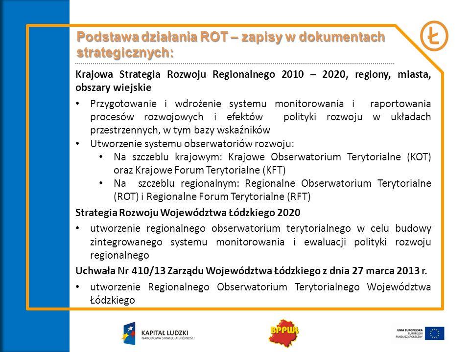 Podstawa działania ROT – zapisy w dokumentach strategicznych: Krajowa Strategia Rozwoju Regionalnego 2010 – 2020, regiony, miasta, obszary wiejskie Przygotowanie i wdrożenie systemu monitorowania i raportowania procesów rozwojowych i efektów polityki rozwoju w układach przestrzennych, w tym bazy wskaźników Utworzenie systemu obserwatoriów rozwoju: Na szczeblu krajowym: Krajowe Obserwatorium Terytorialne (KOT) oraz Krajowe Forum Terytorialne (KFT) Na szczeblu regionalnym: Regionalne Obserwatorium Terytorialne (ROT) i Regionalne Forum Terytorialne (RFT) Strategia Rozwoju Województwa Łódzkiego 2020 utworzenie regionalnego obserwatorium terytorialnego w celu budowy zintegrowanego systemu monitorowania i ewaluacji polityki rozwoju regionalnego Uchwała Nr 410/13 Zarządu Województwa Łódzkiego z dnia 27 marca 2013 r.