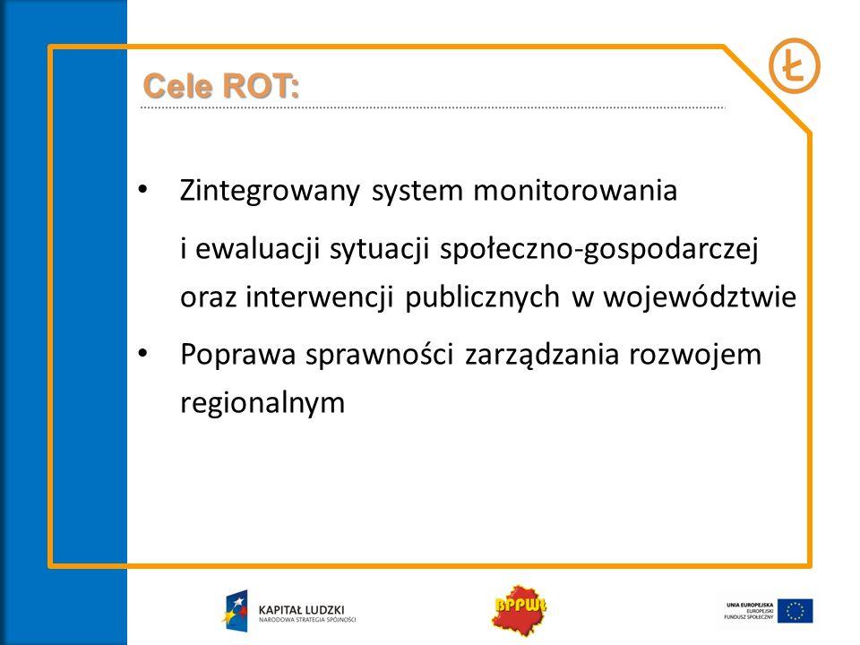Zadania ROT: budowa banku danych o przestrzeni województwa i kraju, ze szczególnym uwzględnieniem województw sąsiednich, budowa zintegrowanego systemu monitorowania sytuacji społeczno-gospodarczej oraz interwencji publicznych w województwie, budowa i koordynacja sieci współpracy między instytucjami działającymi na rzecz rozwoju regionalnego na szczeblu regionalnym oraz wymiana informacji i danych, prowadzenie analiz i ewaluacji polityk publicznych zapisanych w strategicznych dokumentach krajowych (Długookresowa Strategia Rozwoju Kraju, Średniookresowa Strategia Rozwoju Kraju, zintegrowane strategie rozwoju, Koncepcja Przestrzennego Zagospodarowania Kraju) i mających wpływ na rozwój województwa łódzkiego,