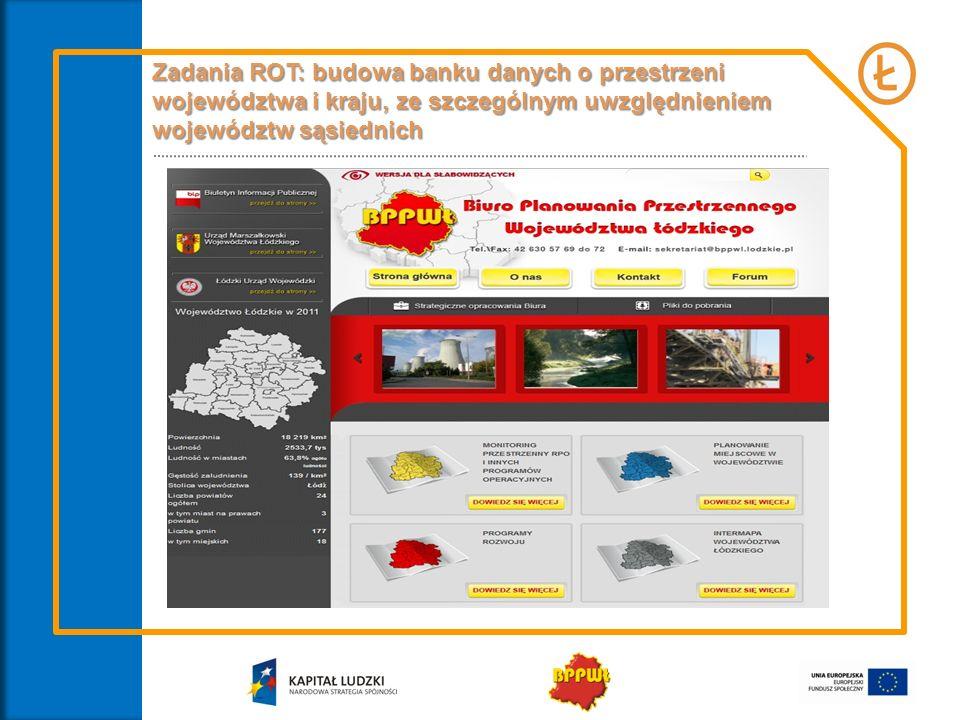 Zadania ROT: budowa zintegrowanego systemu monitorowania sytuacji społeczno-gospodarczej oraz interwencji publicznychbudowa zintegrowanego systemu monitorowania sytuacji społeczno-gospodarczej oraz interwencji publicznych w województwie, budowa i koordynacja sieci współpracy między instytucjami działającymi na rzecz rozwoju regionalnego na szczeblu regionalnym oraz wymiana informacji i danych,budowa i koordynacja sieci współpracy między instytucjami działającymi na rzecz rozwoju regionalnego na szczeblu regionalnym oraz wymiana informacji i danych, Formy współpracy: Konsultacje z potencjalnymi partnerami dotyczące wypracowania optymalnego modelu działania, w tym zakresu pozyskiwania, agregowania i wymiany danych Porozumienia o współpracy Spotkania robocze Udostępnianie baz danych Wspólne projekty badawcze Wspólne konferencje, publikacje