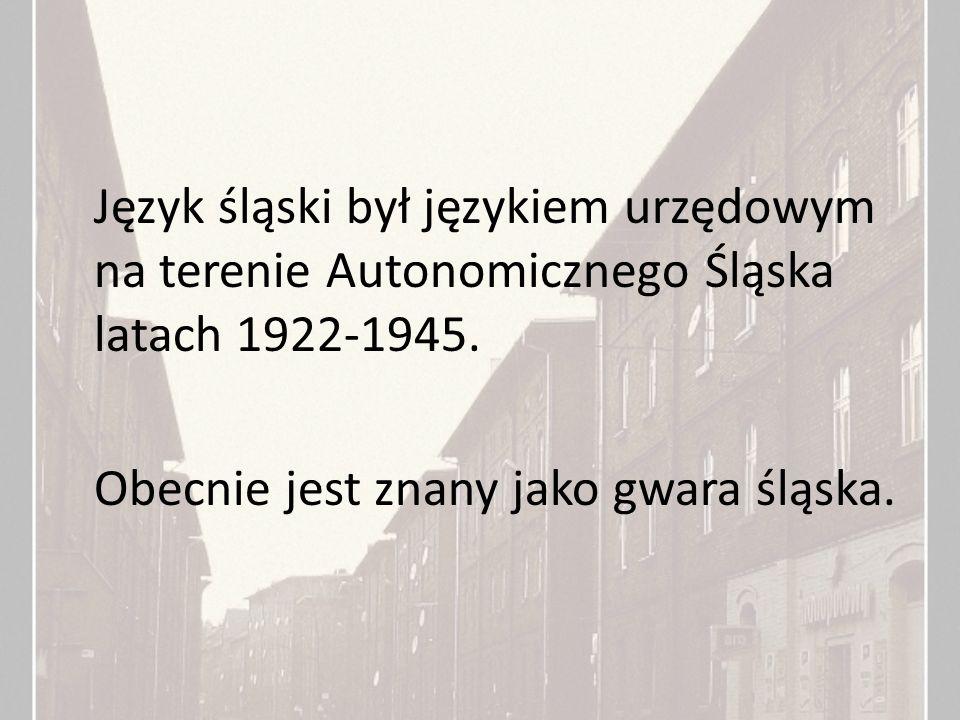 Język śląski był językiem urzędowym na terenie Autonomicznego Śląska latach 1922-1945. Obecnie jest znany jako gwara śląska.