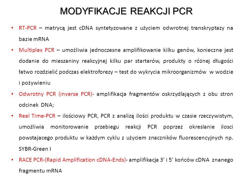 MODYFIKACJE REAKCJI PCR RT-PCR – matrycą jest cDNA syntetyzowane z użyciem odwrotnej transkryptazy na bazie mRNA Multiplex PCR – umożliwia jednoczesne