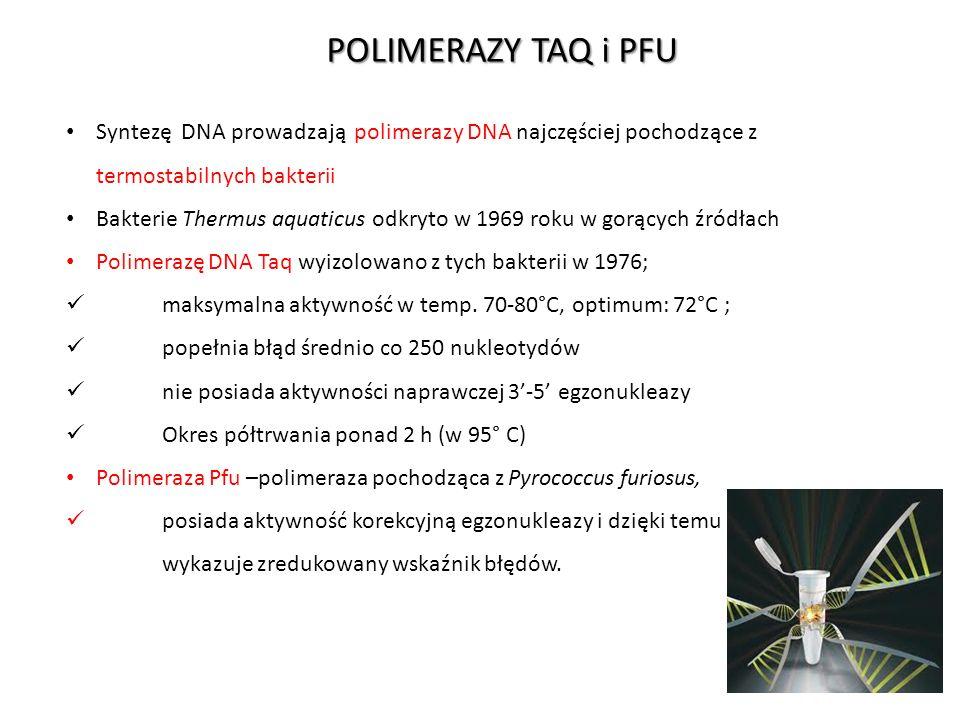 POLIMERAZY TAQ i PFU Syntezę DNA prowadzają polimerazy DNA najczęściej pochodzące z termostabilnych bakterii Bakterie Thermus aquaticus odkryto w 1969