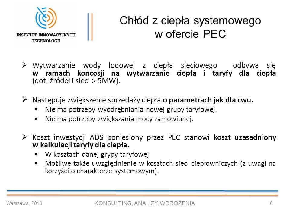 Chłód z ciepła systemowego w ofercie PEC Wytwarzanie wody lodowej z ciepła sieciowego odbywa się w ramach koncesji na wytwarzanie ciepła i taryfy dla
