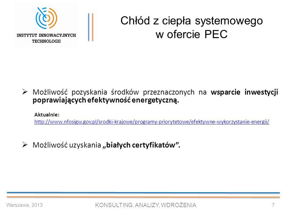 Chłód z ciepła systemowego w ofercie PEC Możliwość pozyskania środków przeznaczonych na wsparcie inwestycji poprawiających efektywność energetyczną. A