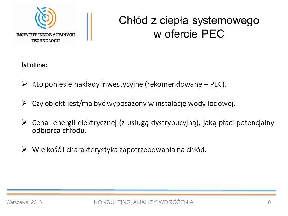 Chłód z ciepła systemowego w ofercie PEC Istotne: Kto poniesie nakłady inwestycyjne (rekomendowane – PEC). Czy obiekt jest/ma być wyposażony w instala