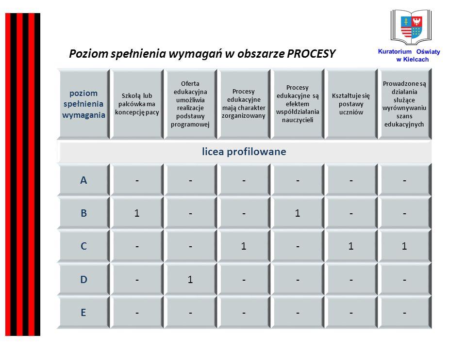Kuratorium Oświaty w Kielcach poziom spełnienia wymagania Szkołą lub palcówka ma koncepcję pacy Oferta edukacyjna umożliwia realizacje podstawy programowej Procesy edukacyjne mają charakter zorganizowany Procesy edukacyjne są efektem współdziałania nauczycieli Kształtuje się postawy uczniów Prowadzone są działania służące wyrównywaniu szans edukacyjnych licea profilowane A------ B1--1-- C--1-11 D-1---- E------ Poziom spełnienia wymagań w obszarze PROCESY