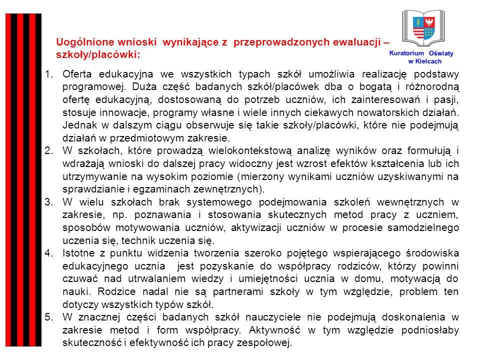 Kuratorium Oświaty w Kielcach Uogólnione wnioski wynikające z przeprowadzonych ewaluacji – szkoły/placówki: 1.Oferta edukacyjna we wszystkich typach szkół umożliwia realizację podstawy programowej.