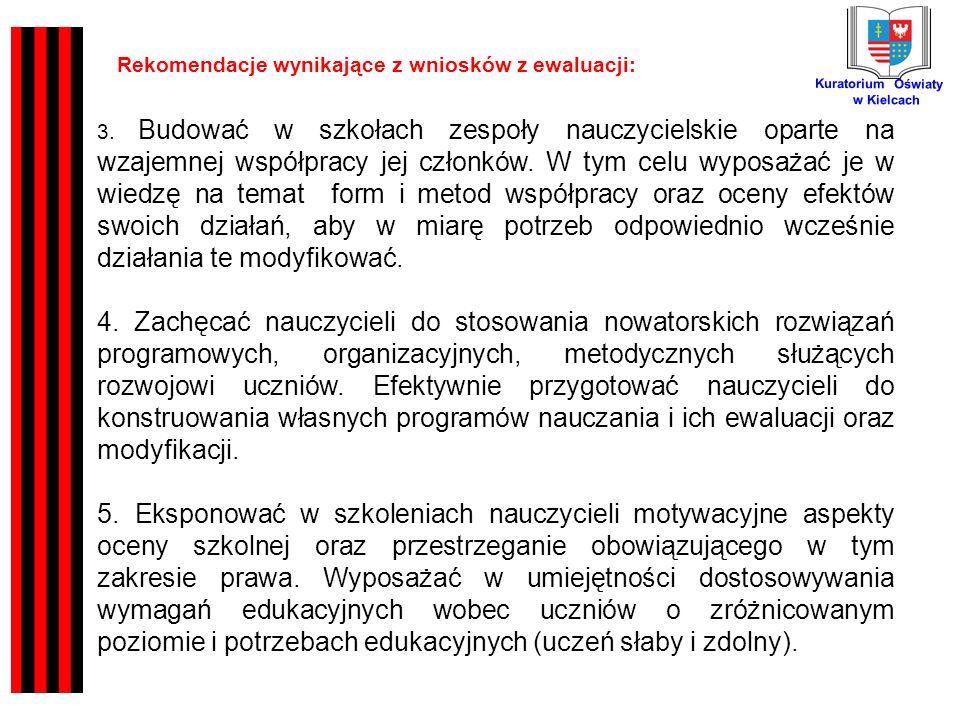 Kuratorium Oświaty w Kielcach Rekomendacje wynikające z wniosków z ewaluacji: 3.