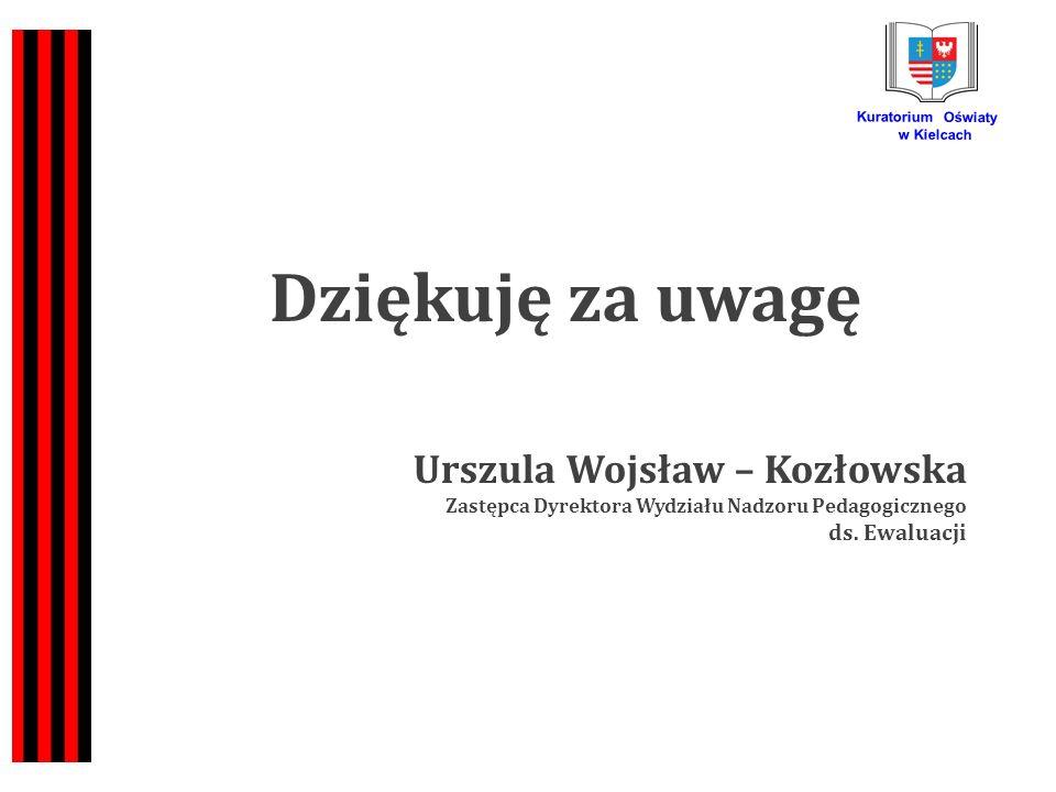 Kuratorium Oświaty w Kielcach Dziękuję za uwagę Urszula Wojsław – Kozłowska Zastępca Dyrektora Wydziału Nadzoru Pedagogicznego ds.